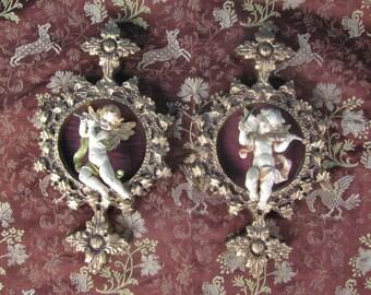 Pair of Cherubic Renaissance / Hollywood Regency / Shabby Chic Wall  Plaques