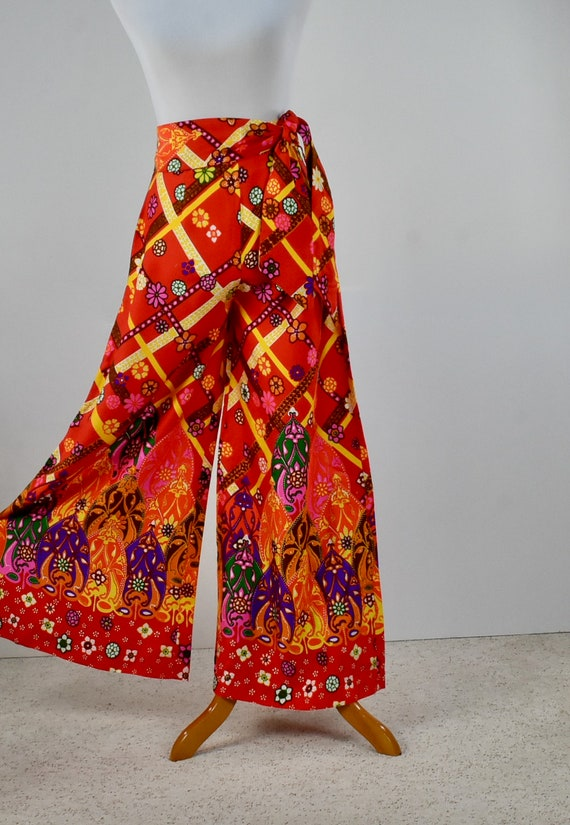 1960/70s Palazzo Psychedelic Pants with Tie Belt.… - image 1