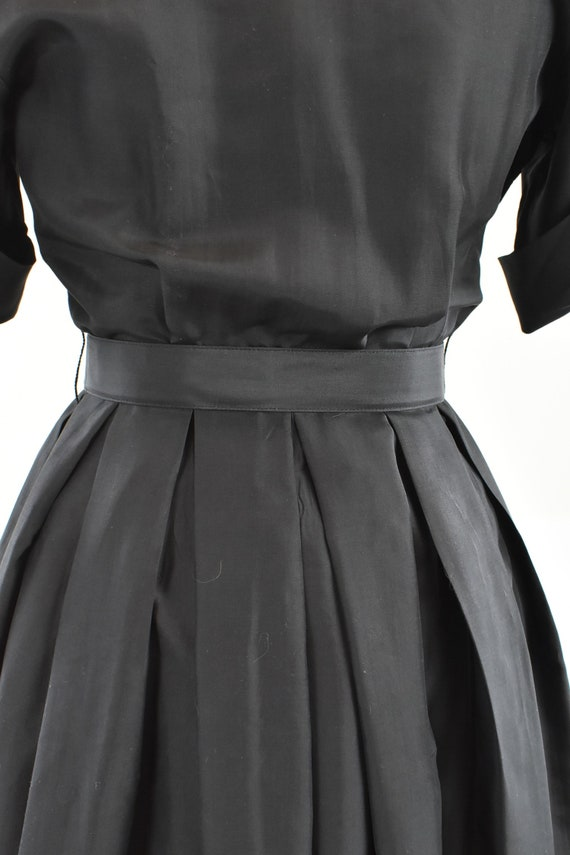 1950/60s Black Silk Button Down Shirtwaist Dress … - image 6