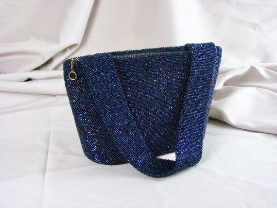 1940s Iridescent Blue Beaded Evening Bag & 1946 Pe