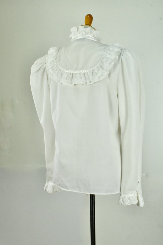 1960/70s  White Ruffled GRANNY  Blouse by MISS FA… - image 2