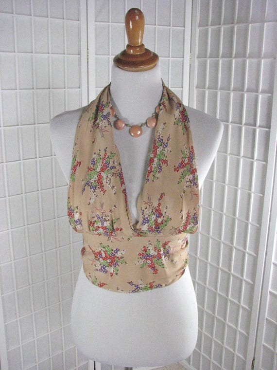1930/40s Floral Halter Top in Silky Rayon........