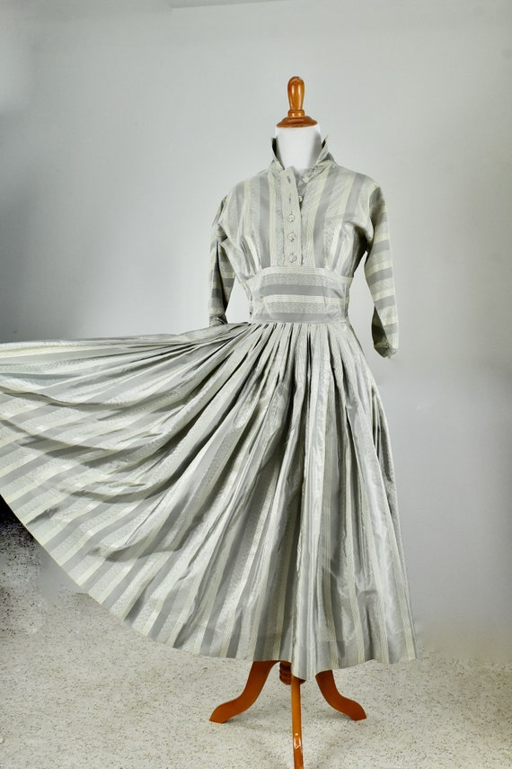 1950s RAPPI  Metallic Silver Taffeta  Party Dress