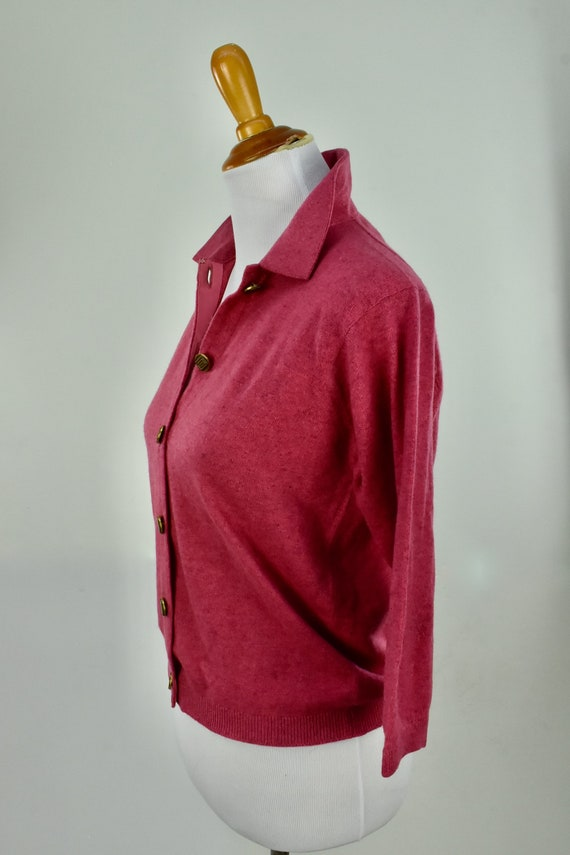 1950s Cashmere Raspberry Heather  Sweater... Ball… - image 3