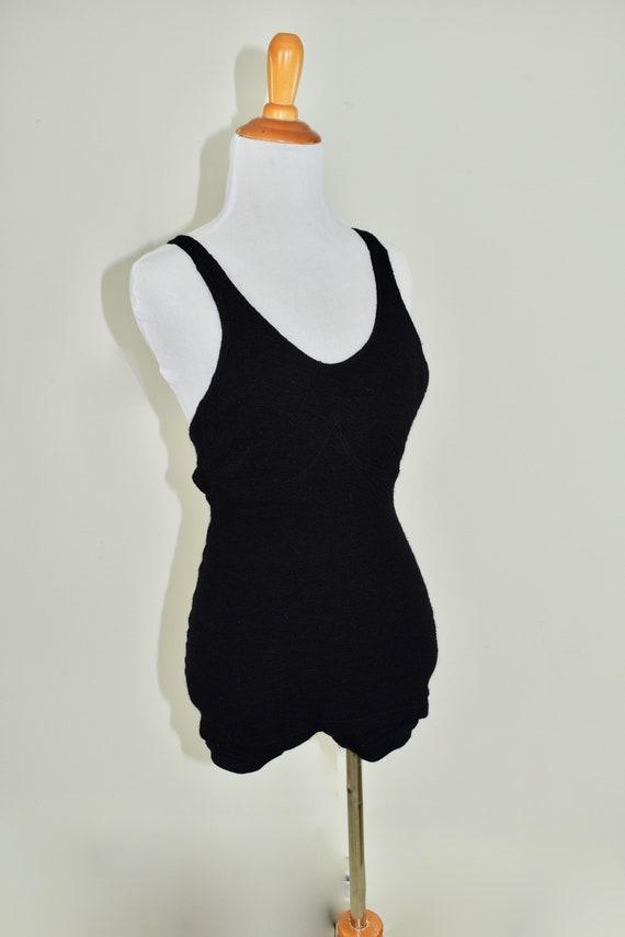 1920/30s Black  Wool Swimsuit by Dayton .....size