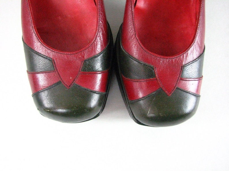 42fa5a4d6a77d 1970s Platform Leather Disco Heels in Olive Green and Maroon......size 41/2  to 5