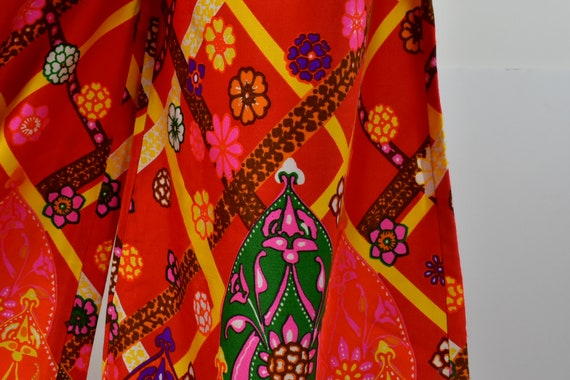 1960/70s Palazzo Psychedelic Pants with Tie Belt.… - image 3