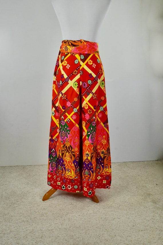 1960/70s Palazzo Psychedelic Pants with Tie Belt.… - image 5