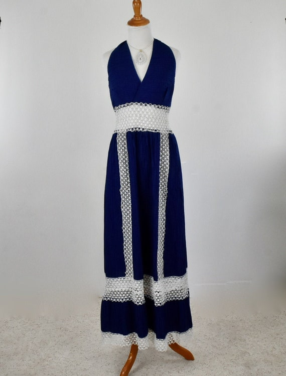 1960s Backless / Halter Long Sundress in Blue with