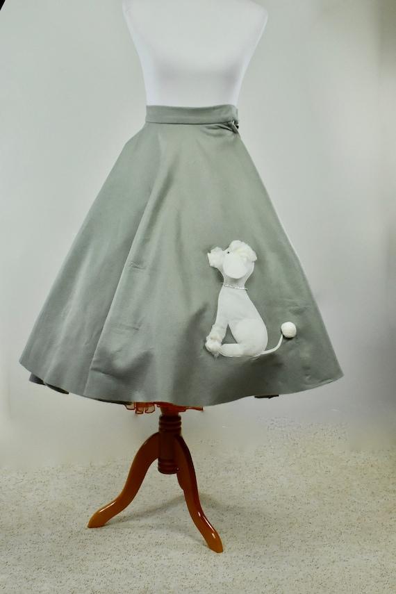 1960s Grey Flannel ROCKABILLY Poodle Skirt .......