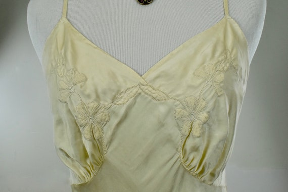1930s Ivory Silk Charmeuse Slip / Nightgown with A