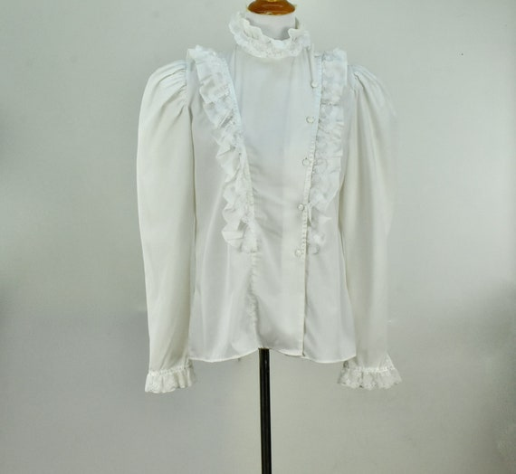 1960/70s  White Ruffled GRANNY  Blouse by MISS FA… - image 4