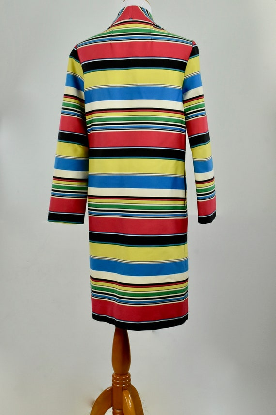 1960s  MOD Multi-Color Striped Coat ......size LA… - image 6