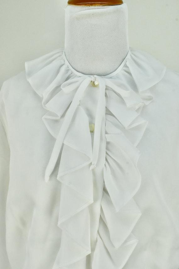 1960/70s  White Ruffled Chiffon Blouse .........s… - image 2