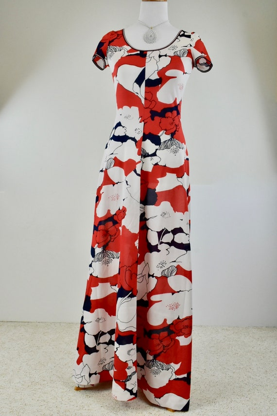 1960/70s GOLDWORM Polyester Knit  Long Dress ....R