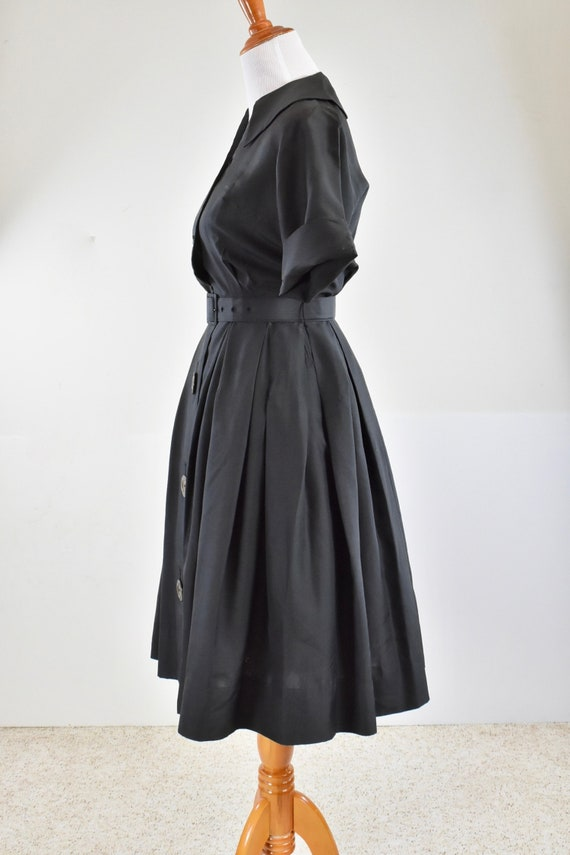 1950/60s Black Silk Button Down Shirtwaist Dress … - image 7