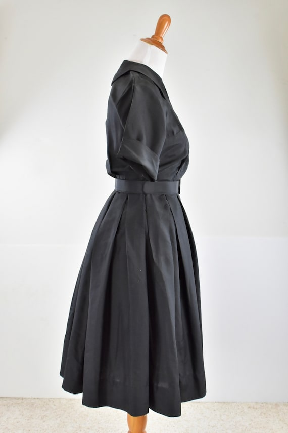 1950/60s Black Silk Button Down Shirtwaist Dress … - image 4