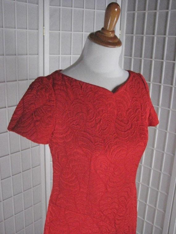 1960s Adele Simpson Trapunto Red Dress........size