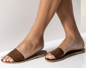 """Minimalist Slide sandals , Open toe flat slides , Available in 6 colors """"Leto"""""""