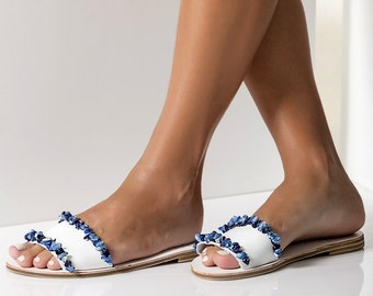 "Handmade Leather Sandals for Women, Greek Sandals, White Slip on Sandals, Embellished  Leather Slides with blue mother of pearls, ""GAIA"""