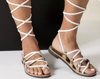 """High knee white gladiator sandals, Greek sandals with braided straps.Bridal shoes Fully Customizable """"SELENE"""""""
