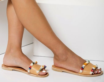 "Artisanal slides with multicolored mother of pearls, Beaded sandals, Beach Wedding flats, ""GAIA"""