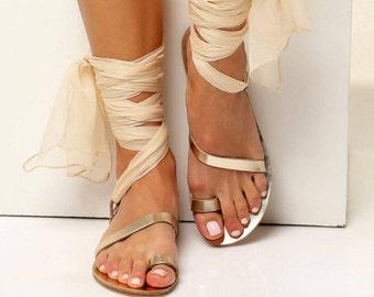 "Wedding Sandals for Bride, Bridal Sandals, Ivory Bridal Flats, Wedding Sandals, Lace up Sandals, Leather Sandals Women, ""Eftychia"""