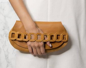 Leather clutch, Brown clutch, Evening clutch bag,  IRO design. NEW