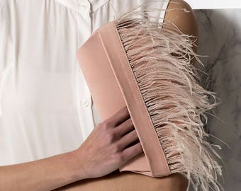 Evening clutch bag with feathers, Leather clutch, Nude pink clutch, Formal pouch  DOMNA design. NEW