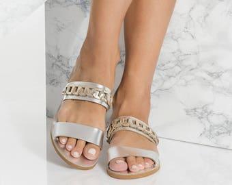 Silver Leather Slides, Slip On Sandals with gold details, Minimalist, Elli design NEW