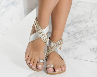 Metallic Leather Sandals, Ankle Wrap Flats, Phaedra Design NEW