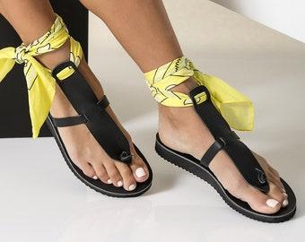 "Black Leather Sandals Women, Platform Sandals, Boho Sandals, Bandana Sandals, Wedge Sandals, Greek Sandals Women, ""Helena"""