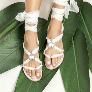 Greek wedding sandals Custom color  Eftychia Leather sandals with silk laces Ivory Gold bridal flats