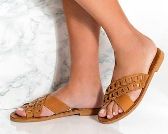 "Slide Sandals, Leather Sandals Women, Greek Sandals, Boho Sandals, Brown Leather Sandals, Criss-Cross Sandals, Summer Shoes, ""Pasiphae"""