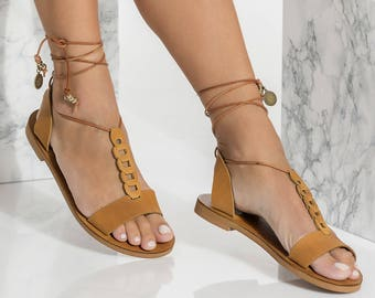 Greek Leather sandals, Lace Up Flats, Open Toe Ankle Wrapped, Gorgo design, NEW