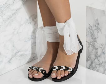 Black and White sandals, Formal flats, Silk Scarf Ankle Wrapped, Dido design NEW