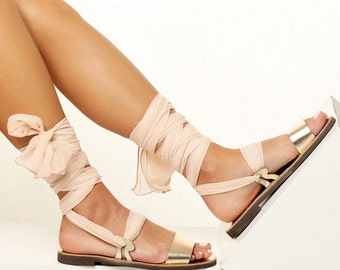 Women sandals with interchangeable silk scarf laces. Fully Customizable. NIOVI 04