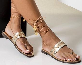 b0979c3b0989e SALE 50% - Last Pieces Gold Leather Sandals