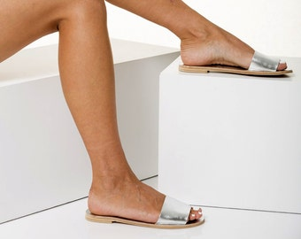 """Leather slides, Open toe flat sandals, Available in 6 colors """"Leto"""""""