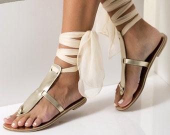 "Gold leather sandals, Ivory sandals, Greek Wedding flat sandals with silk laces, Custom color ""Elpida"""