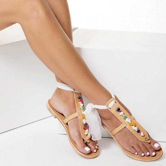 264013f9bfd Boho wedding sandals Embellished sandals Leather flat