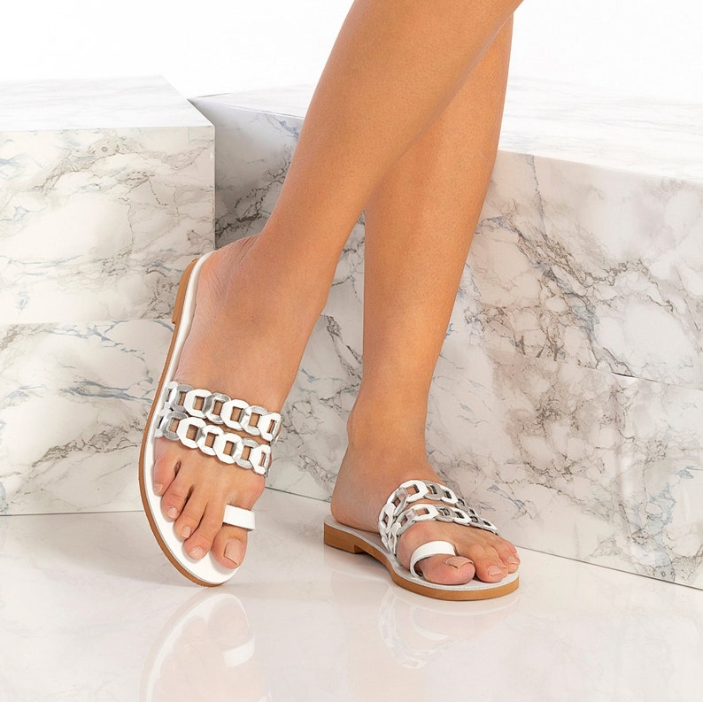 Silver Greek Sandals Aura design Leather Slides Toe Ring leather sandals comes in five colors Slipons