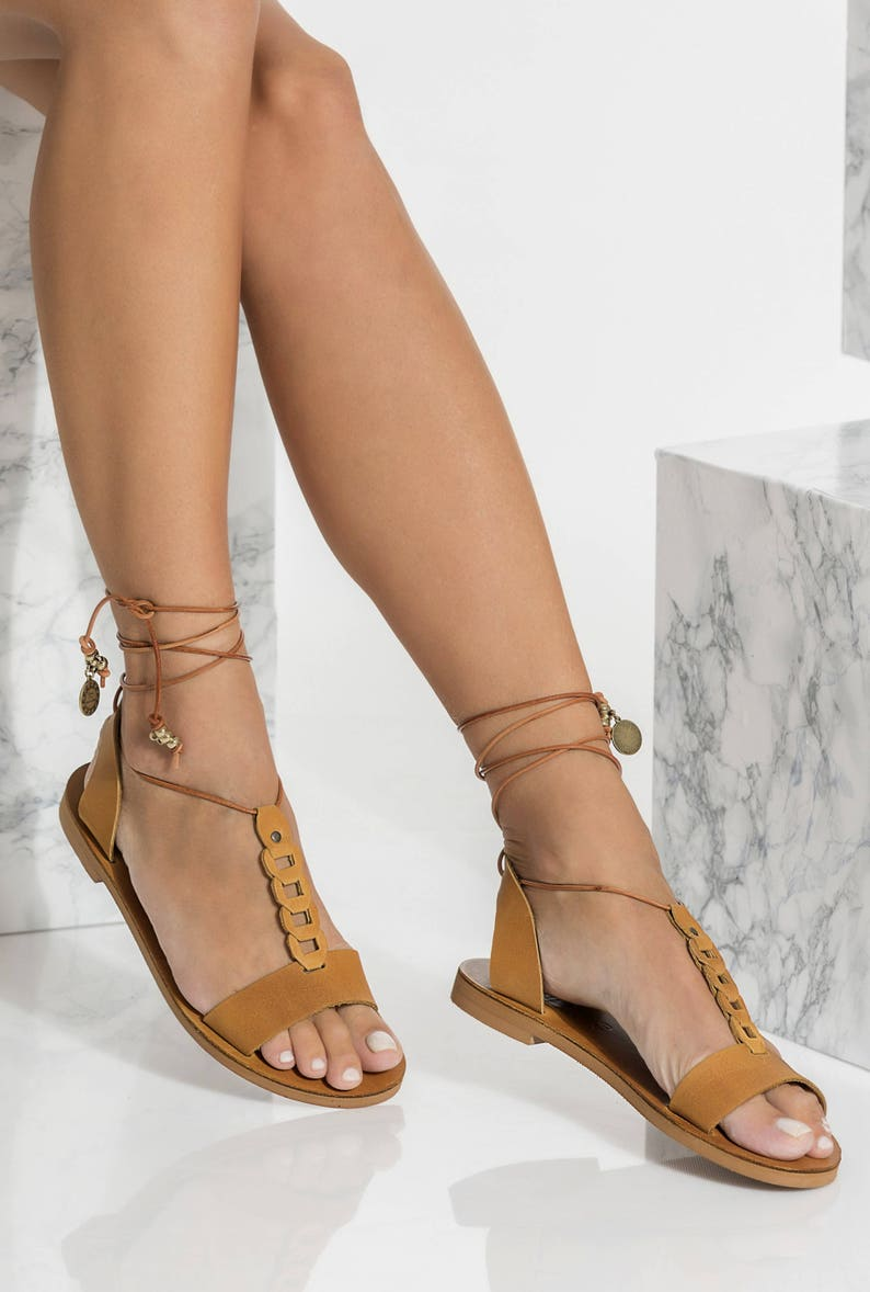 6504bff6f7494 Greek Leather sandals, Lace Up Flats, Open Toe Ankle Wrapped, Gorgo design,
