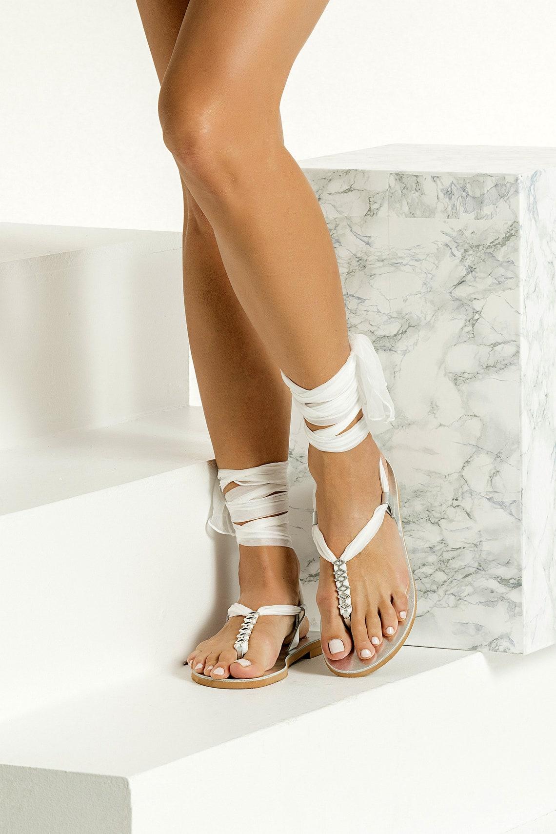 Wedding Sandals, White Bridal Sandals, Silver Wedding Shoes for Bride, Boho Lace up Flat Sandals, Beach Wedding Sandals, Sophia III