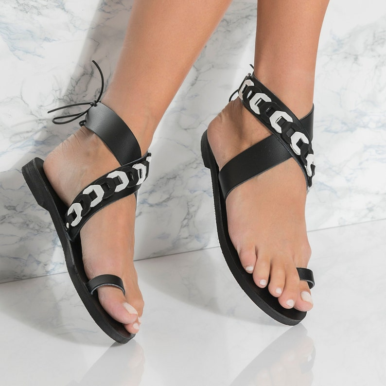 9b319b51f3bc2 Black Leather Sandals, Ankle Wrap Flats, come in 5 colors, Phaedra Design