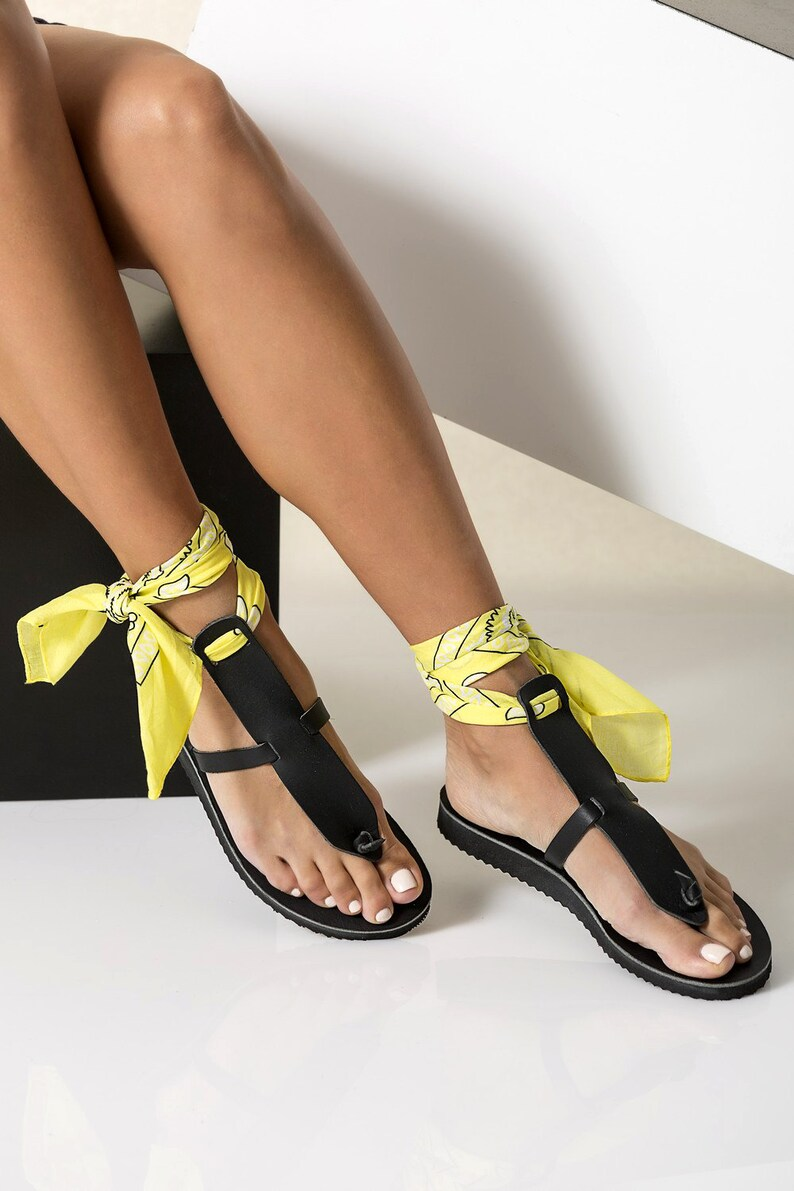 bd34ebcf80c78 Black leather sandals in 6 colocrs with a set of 5 interchangeable bandana  laces included!