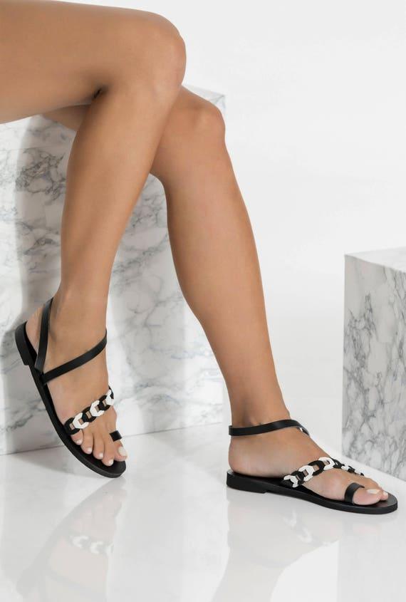 Black Leather Slingbacks Leather Sandals Asymmetrical Ankle  ab6039dbd519
