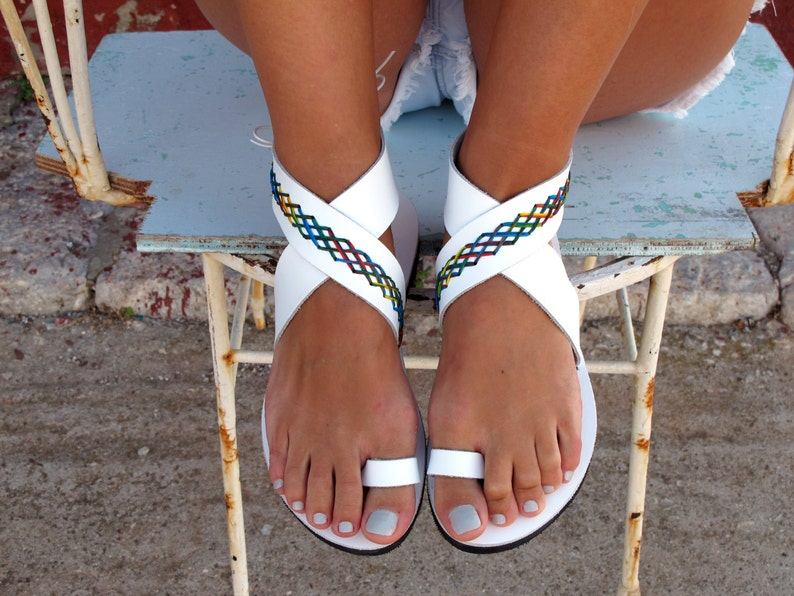 1a2f8159b924ab Bohemian Leather Sandals in Six Colors. Thalia