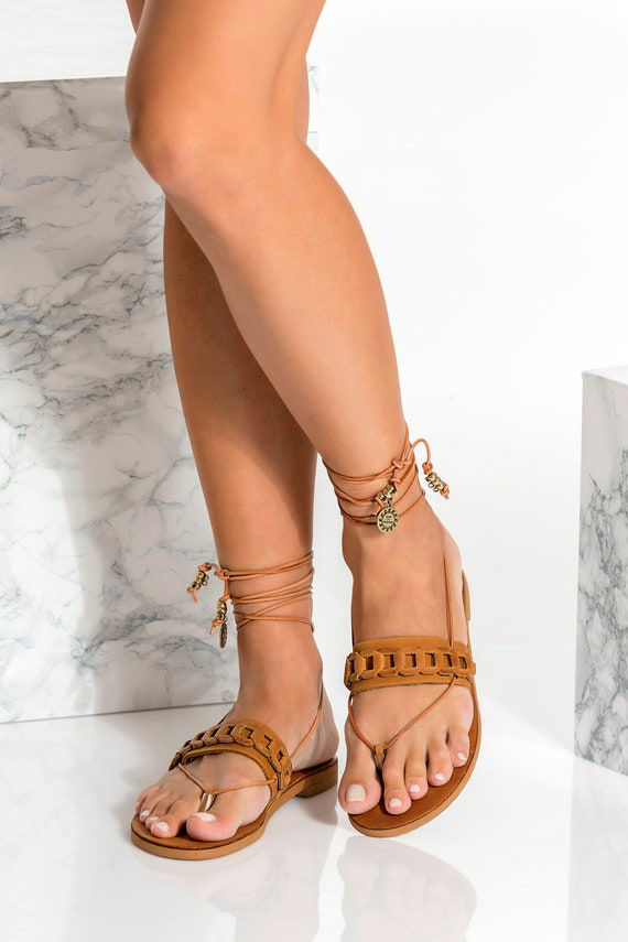 IRIS Greek Ankle wrap up sandals with interchangeable scarf laces Fully Customizable