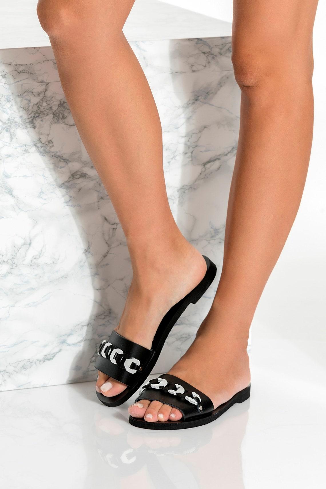 Greek Sandals for Women, Black Sandals, Handmade Leather Sandals, Boho Sandals, Slip on Sandals, Open Toe Slides, Ekavi design